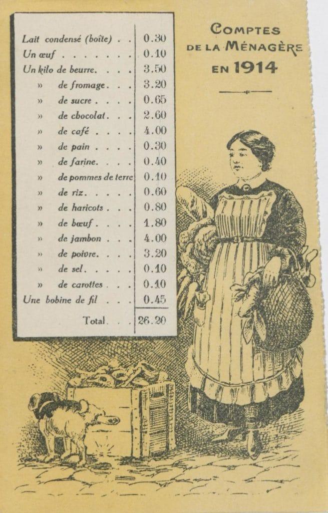 Prix en 1914 - Inflation
